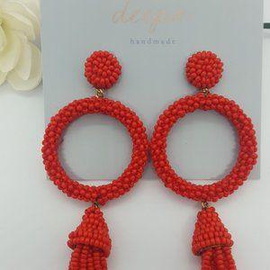 Deepa beaded circle & tassel earrings - RED